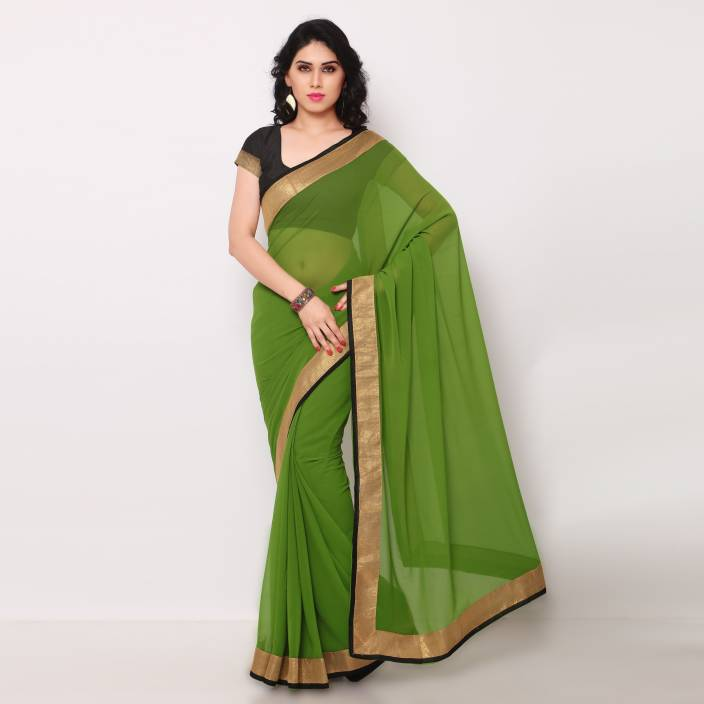 Poornathava Solid Fashion Georgette Saree