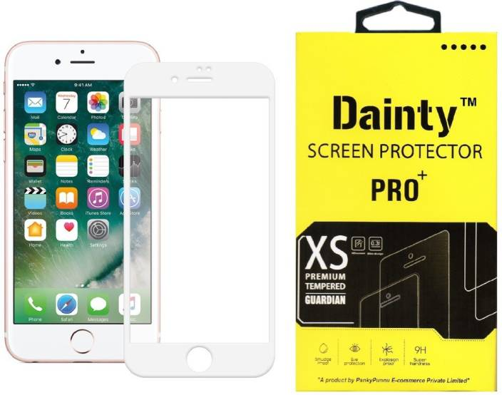 Dainty Tempered Glass Guard for Apple Iphone 6 (4.7 inch, White) (Full Glass)