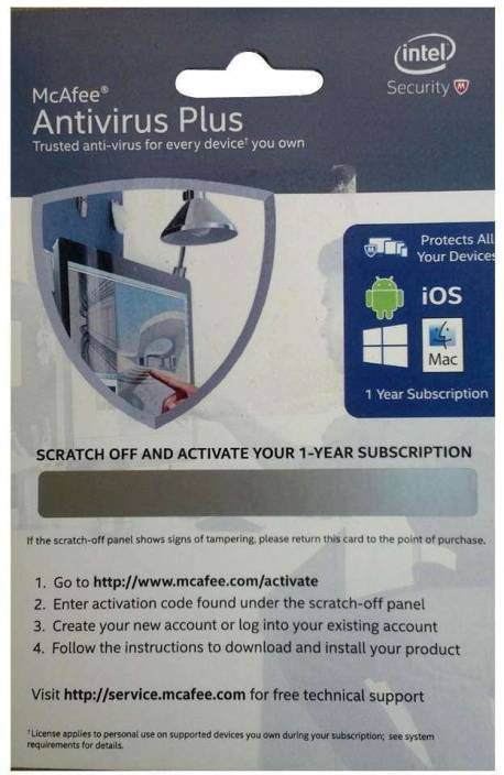 McAfee AntiVirus Plus 1 PC 1 Year ANTIVIRUS/BKCMAV1YRENG-INTEL