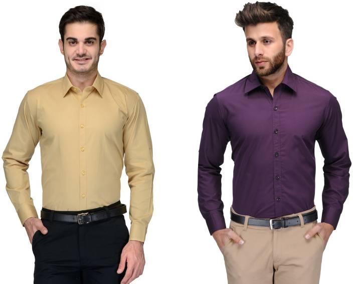 Allen Men's Solid Formal Rugby Collar Shirt