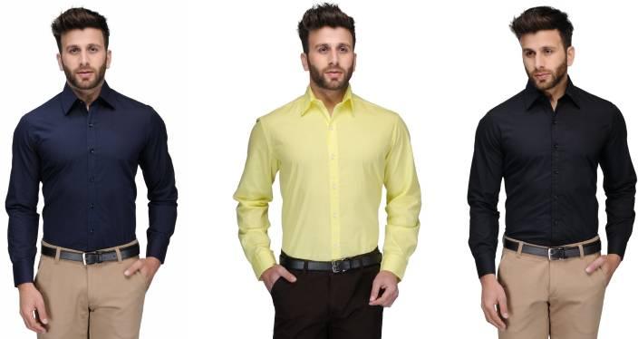 Allen Men's Solid Formal Dark Blue, Yellow, Black Shirt