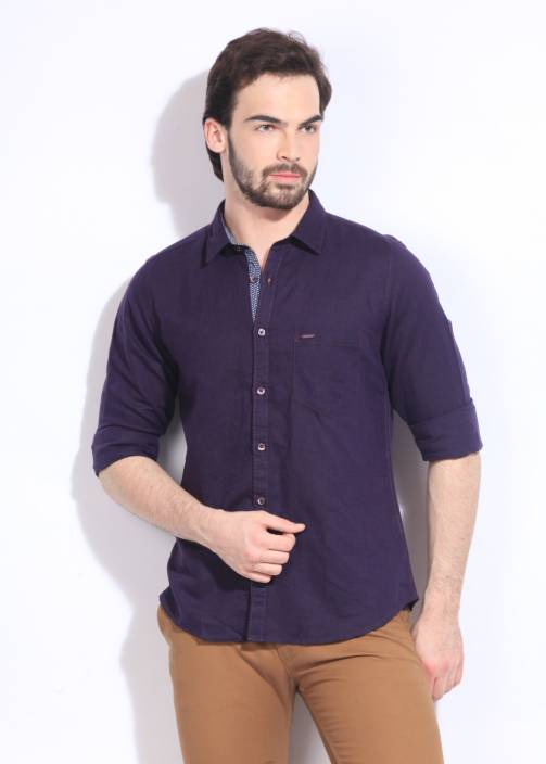 Highlander Men's Solid Casual Purple Shirt