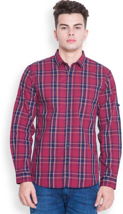 Highlander Mens Checkered Casual Maroon, Dark Blue Shirt