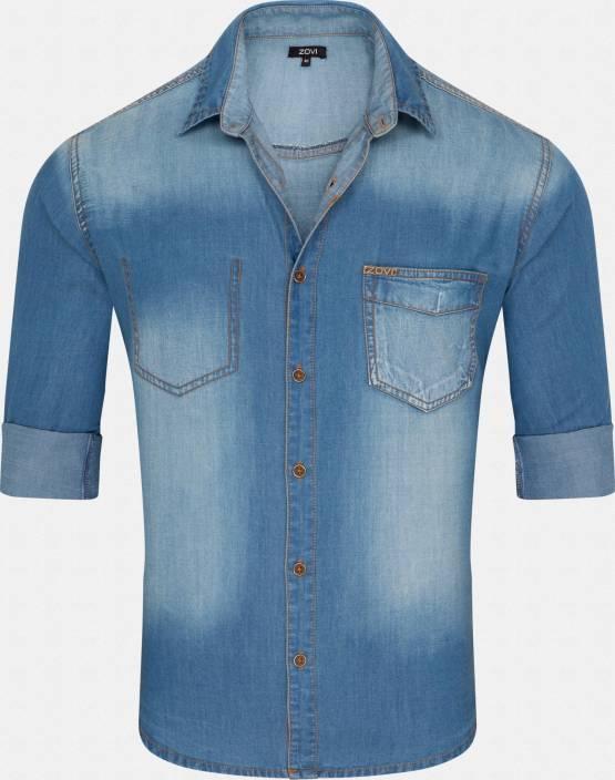 Zovi Men's Solid Casual Blue Shirt