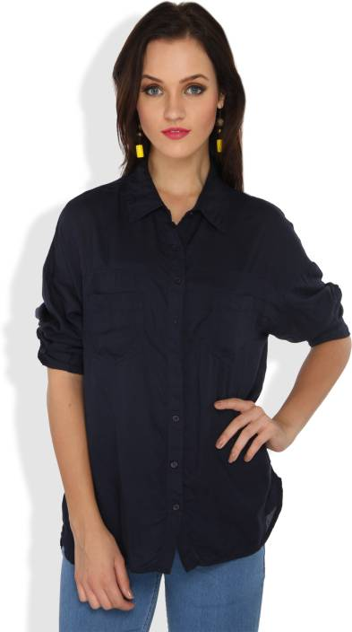 Ten on Ten Women's Solid Casual Dark Blue Shirt