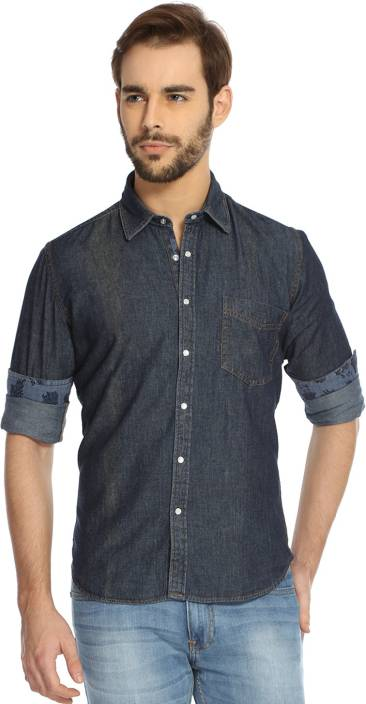 eb2fc6c2a52 Rockstar Jeans Men s Solid Casual Shirt - Buy Blue-01 Rockstar Jeans Men s  Solid Casual Shirt Online at Best Prices in India