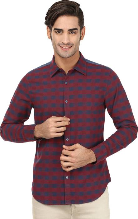 United Colors of Benetton. Men's Checkered Casual Regular Collar Shirt