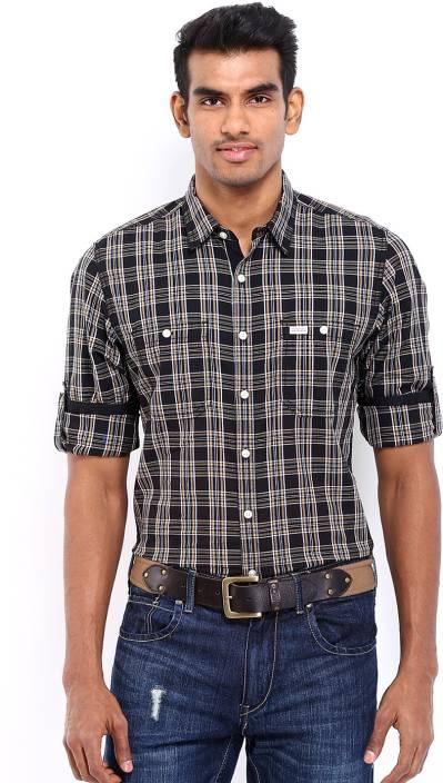 c2a4ba320 Roadster Men's Checkered Casual Black Shirt - Buy Dk.Brown, Green, Navy  Roadster Men's Checkered Casual Black Shirt Online at Best Prices in India  ...