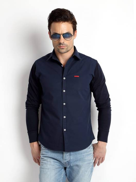 Rodid Men's Solid Casual Dark Blue Shirt - Buy Navy Blue Rodid ...