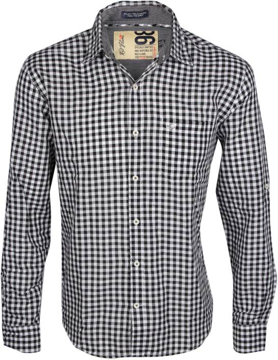 Red Flame Men's Checkered Casual Black, White Shirt - Buy Black ...