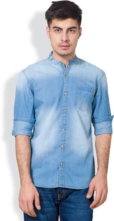 Highlander Men S Solid Casual Blue Shirt Buy Mid Denim Highlander