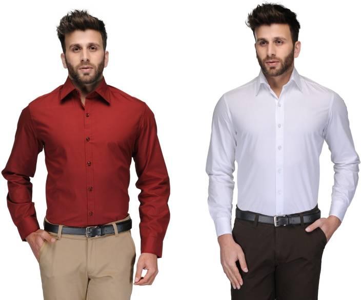 Allen Men's Solid Formal Red, White Shirt