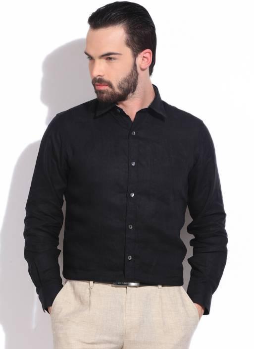 Monte Carlo Men's Solid Casual Linen Black Shirt - Buy Black Monte ...