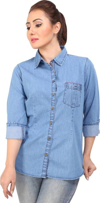 Bombay Casual Jeans Women's Solid Casual Denim Blue Shirt