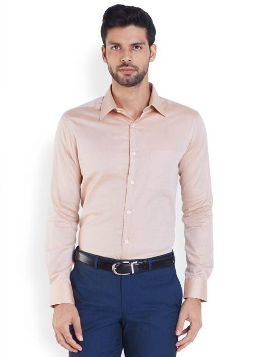 Raymond Men's Solid Formal Orange Shirt