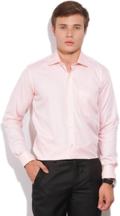 Louis Philippe Men's Self Design Formal Orange Shirt