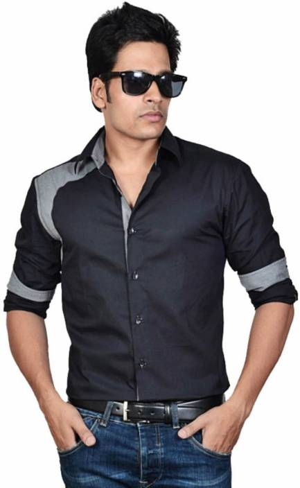 Dazzio men 39 s solid casual black shirt buy black dazzio for Mens black shirts online