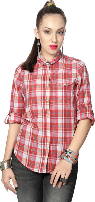 People Women's Checkered Casual Red Shirt