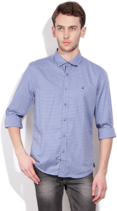 LP Jeans by Louis Philippe Men's Striped Casual Blue Shirt