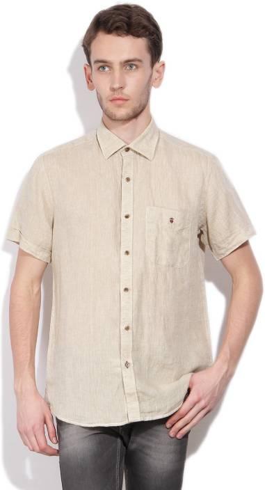 LP Louis Philippe Men's Self Design Casual Linen Beige Shirt