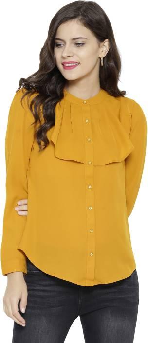 Sassafras Women's Solid Casual Chinese Collar Shirt