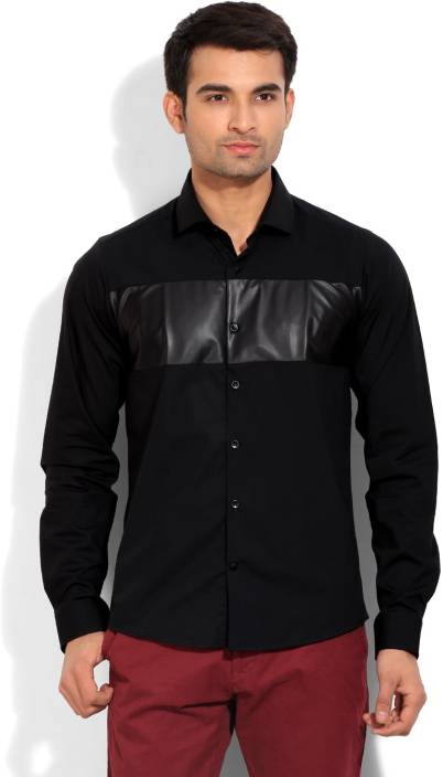 United Colors of Benetton. Men's Solid Casual Black Shirt