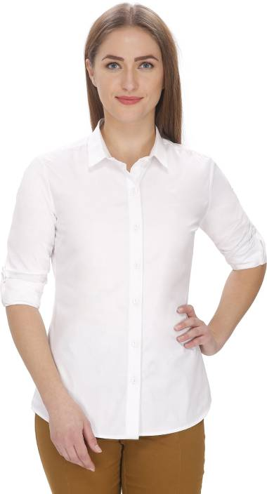 7ed3294e79c2 LEAF Women s Solid Formal White Shirt - Buy White LEAF Women s Solid Formal  White Shirt Online at Best Prices in India