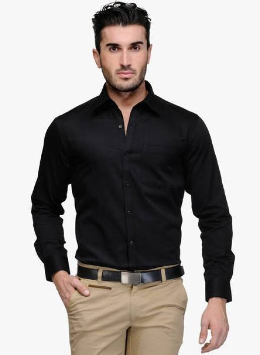 Shine Shirts Men's Solid Formal Black Shirt - Buy Black Shine ...