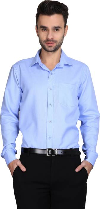 TIE & CUFFS Men's Solid Formal Blue Shirt