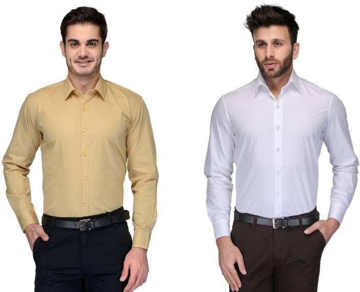 Allen Men's Solid Formal Beige, White Shirt