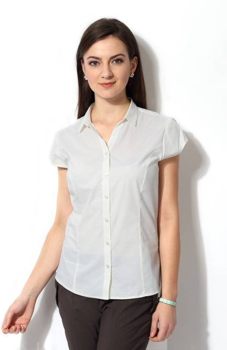Allen Solly Women s Solid Formal White Shirt - Buy White Allen Solly Women s  Solid Formal White Shirt Online at Best Prices in India  3a885964f