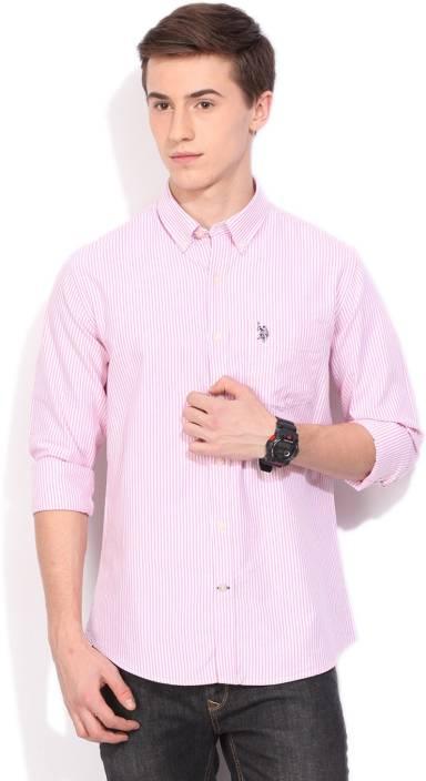 U.S. Polo Assn Men's Striped Casual Pink Shirt - Buy PINK U.S. ...