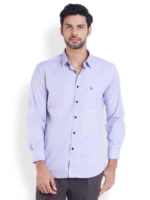 Parx Men's Solid Casual Purple Shirt