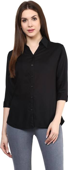 Mayra Women's Solid Party Black Shirt - Buy Black Mayra Women's ...