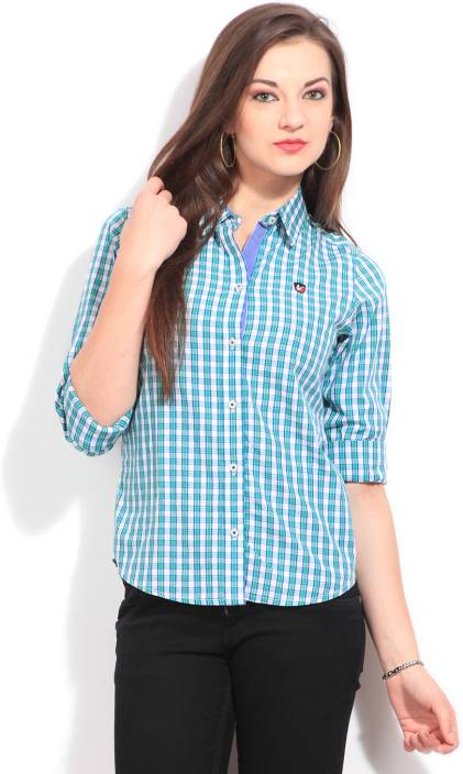 American Swan Women's Checkered Casual Green Shirt