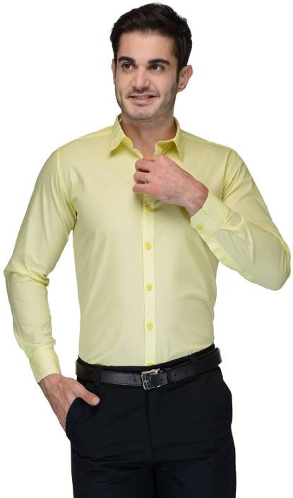 Allen Men's Solid Formal Yellow Shirt