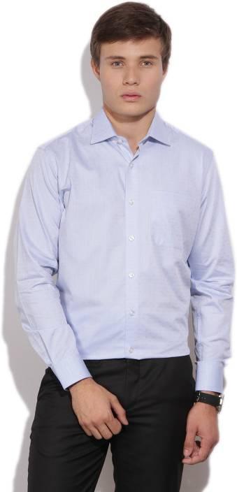 Louis Philippe Men's Self Design Formal Light Blue Shirt