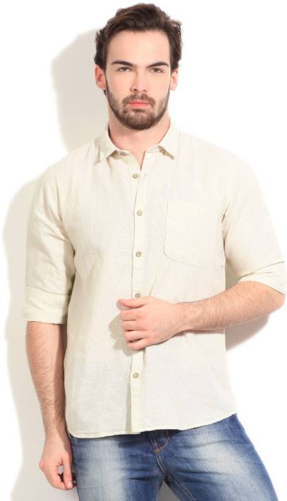 Cherokee Men's Striped Casual Beige Shirt