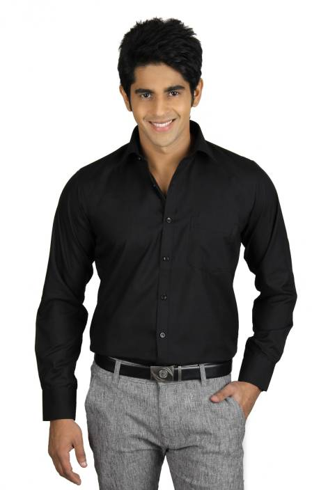 Nexq men 39 s solid formal black shirt buy z black nexq men for Black tuxedo shirt for men