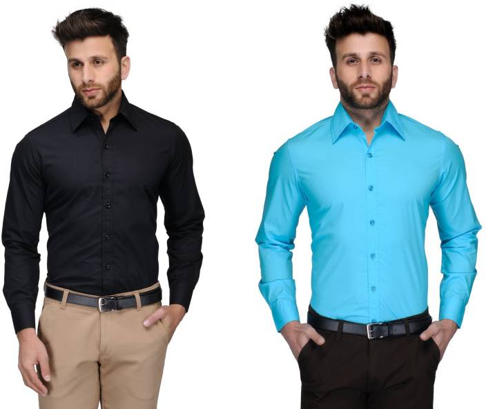 Allen Men's Solid Formal Black, Light Blue Shirt