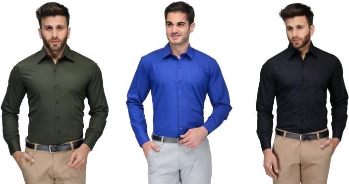 Allen Men's Solid Formal Green, Blue, Black Shirt