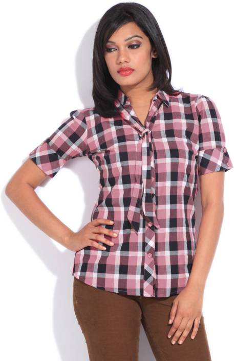 Style Quotient By Noi Women's Checkered Casual Black, Pink Shirt