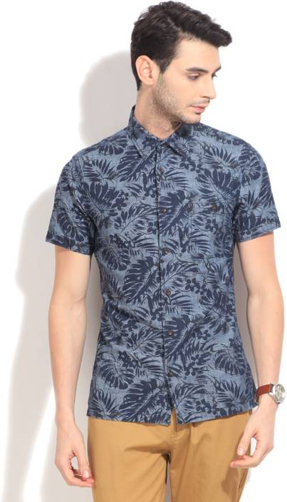 United Colors of Benetton. Men's Printed Casual Blue Shirt