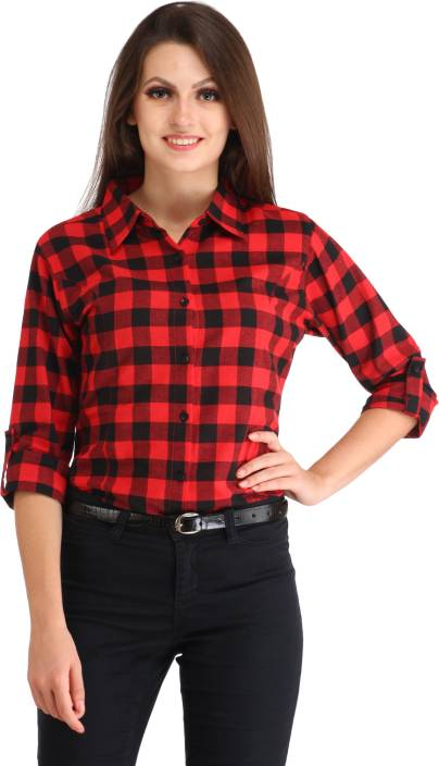Cation Women's Checkered Casual Red, Black Shirt - Buy red Cation ...