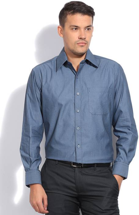 John Players Men's Solid Formal Blue Shirt