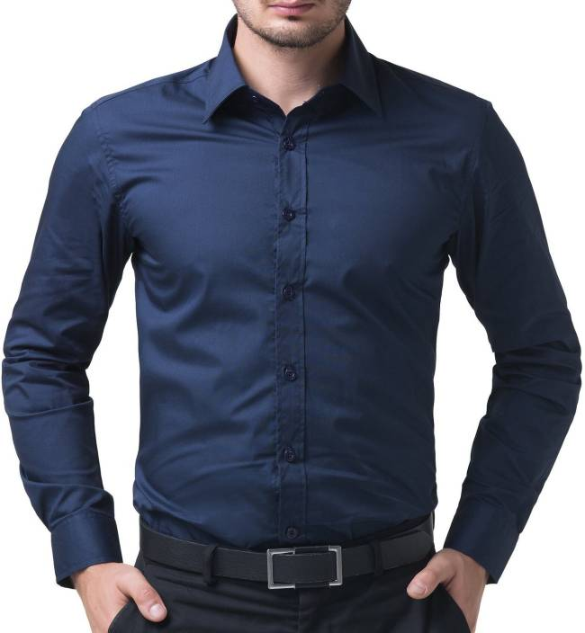 Being Fab Mens Solid Formal Blue Shirt
