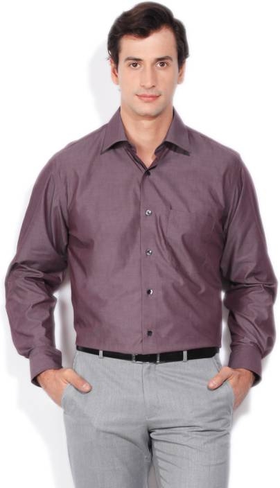 Louis Philippe Men's Solid Formal Maroon Shirt