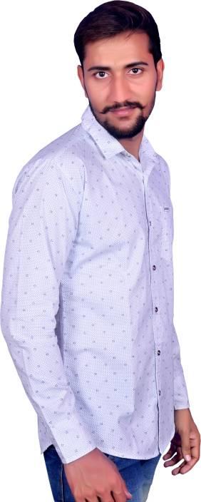 First Time Men's Polka Print Casual White Shirt