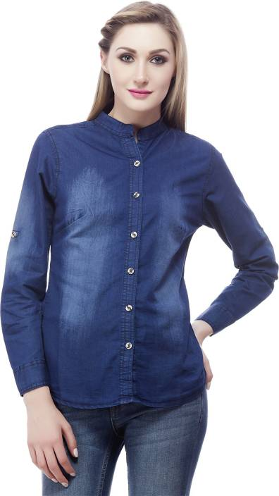 Clo Clu Women's Solid Casual Denim Blue Shirt