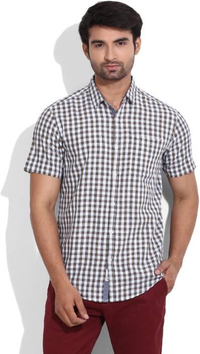 Lee Men's Checkered Casual Spread Collar Shirt